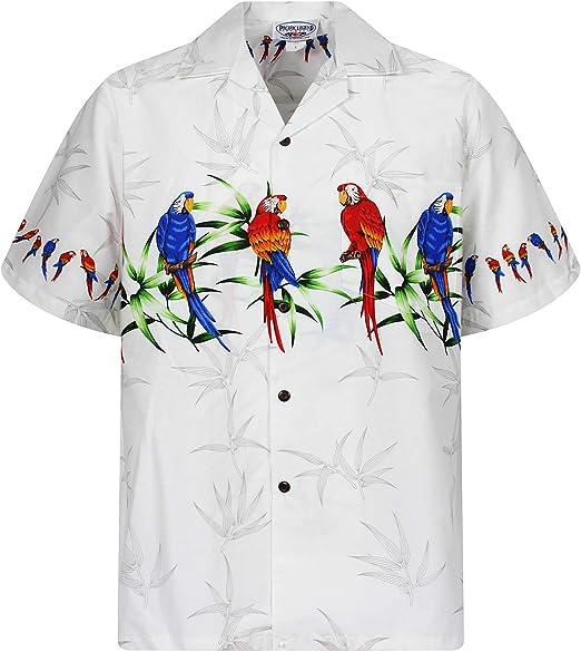 Pacific Legend | Original Camisa Hawaiana | Caballeros | S - 4XL | Manga Corta | Bolsillo Delantero | Estampado Hawaiano | Loros | blanco: Amazon.es: Ropa y accesorios
