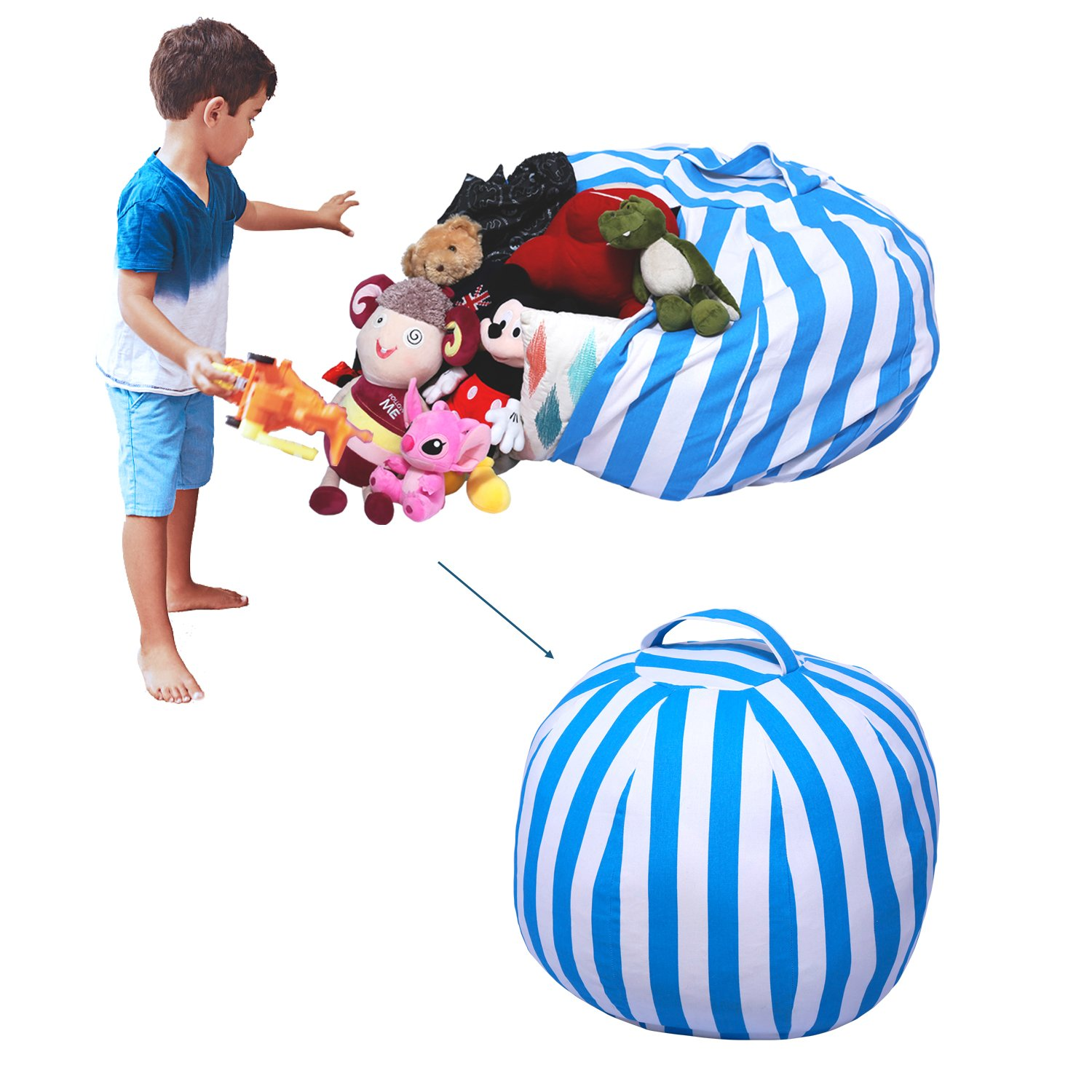 Yotree Stuffed Animal Storage Bean Bag Chair Useful Extra Large Kids Toy Organizer Clean up the Room and Put Those Critters in Order(Blue Stripes)