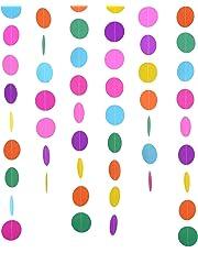 2 Packung 4 Meter Runde Papier Girlande Verschiedene Farben Kreis Punkte Hängend Dekorationen für Geburtstag Hochzeit Party