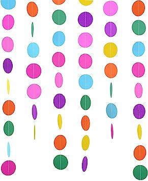 2 Paquetes 4 Metros Guirnalda de Papel Redonda de Colores Surtidos Puntos de Circulo Decoraciones de Colgante para Fiesta de Cumpleaños Boda: Amazon.es: Juguetes y juegos