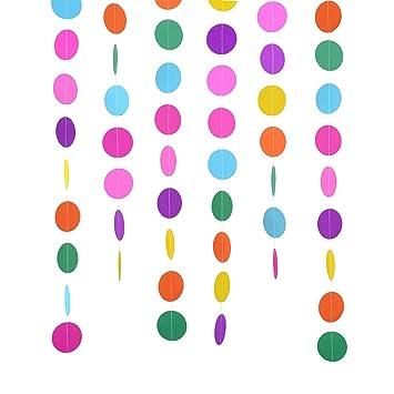 2 Paquetes 4 Metros Guirnalda de Papel Redonda de Colores Surtidos Puntos de Circulo Decoraciones de Colgante para Fiesta de Cumpleaños Boda