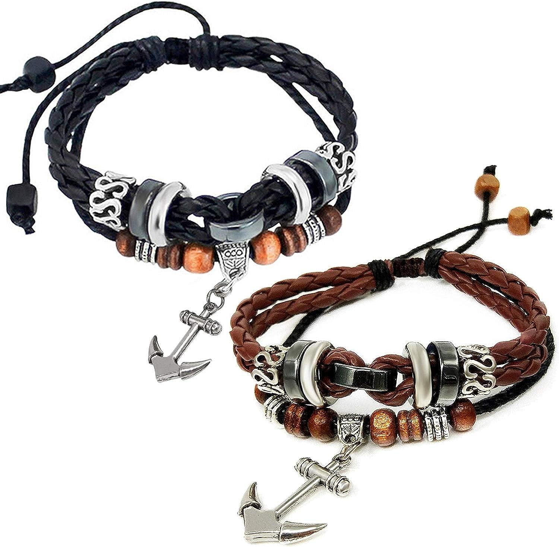 Mens Adjustable Genuine Leather Bracelet Bangle Leaf Wristband Punk Cuff Beaded