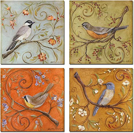 Amazon Com Sechars 4 Pieces Canvas Art Spring Flower And Animal Painting Print On Canvas Bird Pictures Wall Decor Framed And Ready To Hang Posters Prints