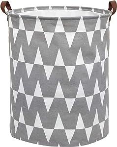 CLOCOR Collapsible Round Storage Bin/Large Storage Basket/Clothes Laundry Hamper/Toy Books Holder (Grey W)