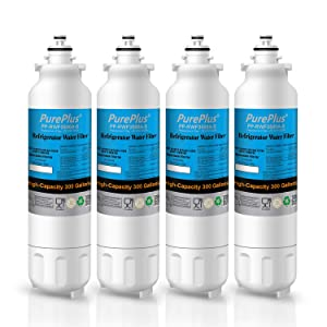 PUREPLUS Refrigerator Water Filter, Replacement for LG LT800P, Kenmore 9490, ADQ73613401, LSXS26326S, LMXC23746S, WF-LT800P, 469490, LMXC23746D, ADQ73613402, 46-9490 [4 Pack]