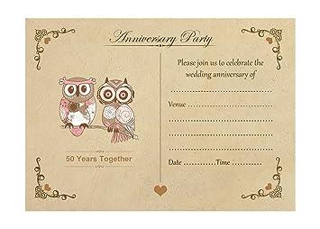 Artstore vintage owls 50th wedding anniversary invitations with artstore vintage owls 50th wedding anniversary invitations with brown kraft envelopes pack of 20 stopboris Gallery