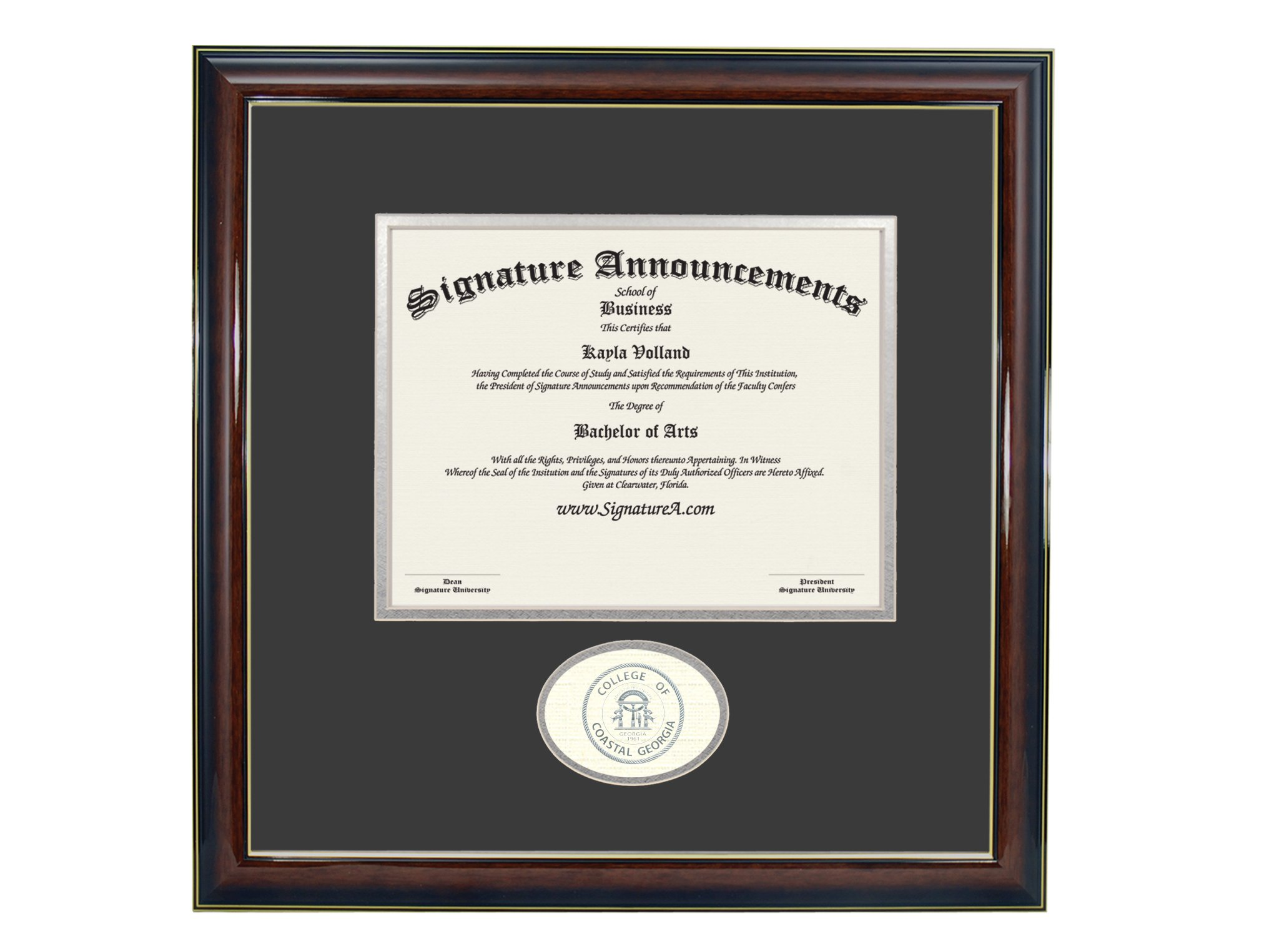 Signature Announcements College-of-Coastal-Georgia Undergraduate, Graduate/Professional/Doctor Sculpted Foil Seal Diploma Frame, 16'' x 16'', Gold Accent Gloss Mahogany