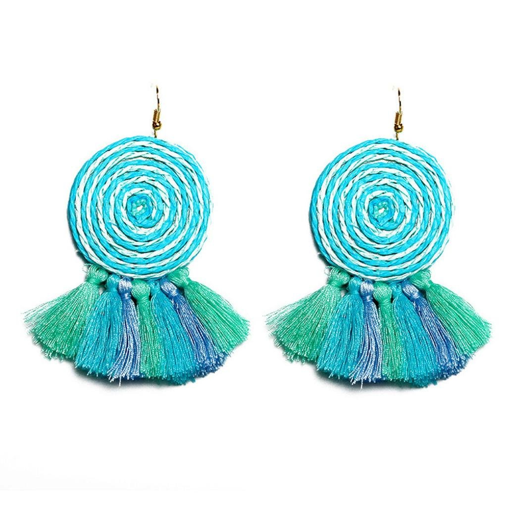 Beuu Ultra-Low Price Dynamic Circle Tassel Earrings Vintage Style Rhinestones Crystal Dangle Stud Fashion