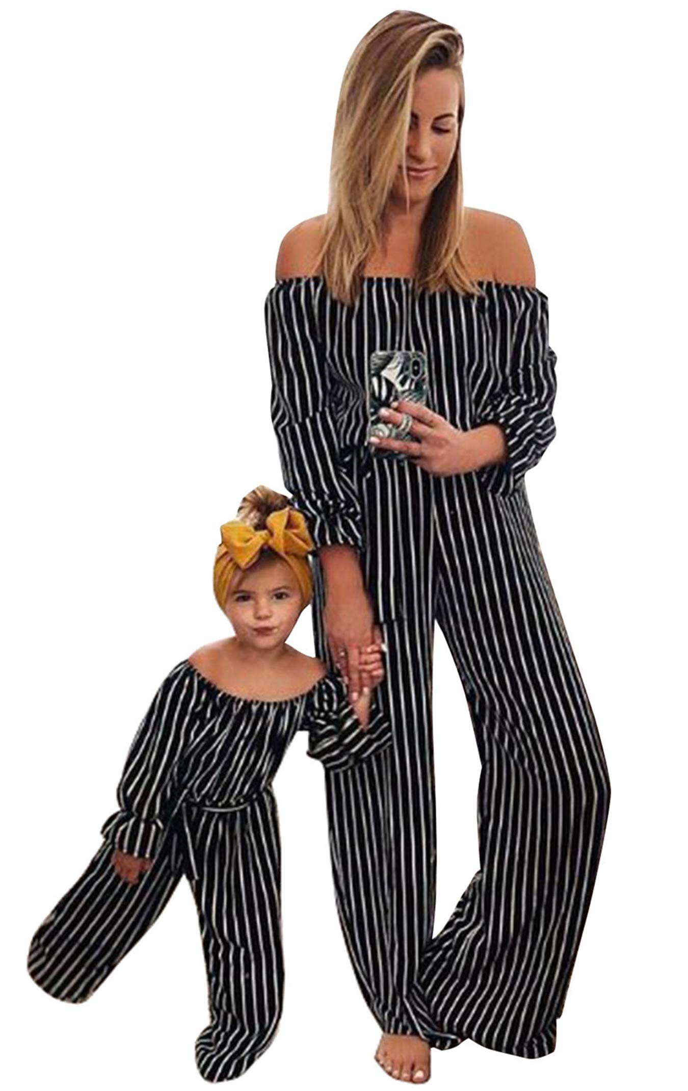 Family Matching Striped Jumpsuit Mommy&Me Off Shoulder Long Sleeve Long Pants Romper with Belt (Black, Mom/M) by doublebabyjoy