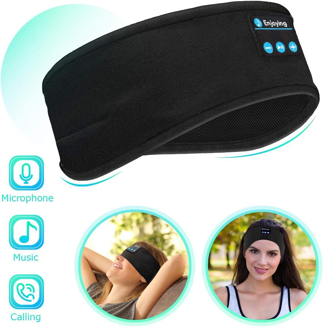 Bluetooth Sleep Headphones Eye Mask, Wireless Sports Headband Headphones with Detachable Stereo Thin Speaker for Sleeping, Sports, Meditation Relax, Sports Headband Black