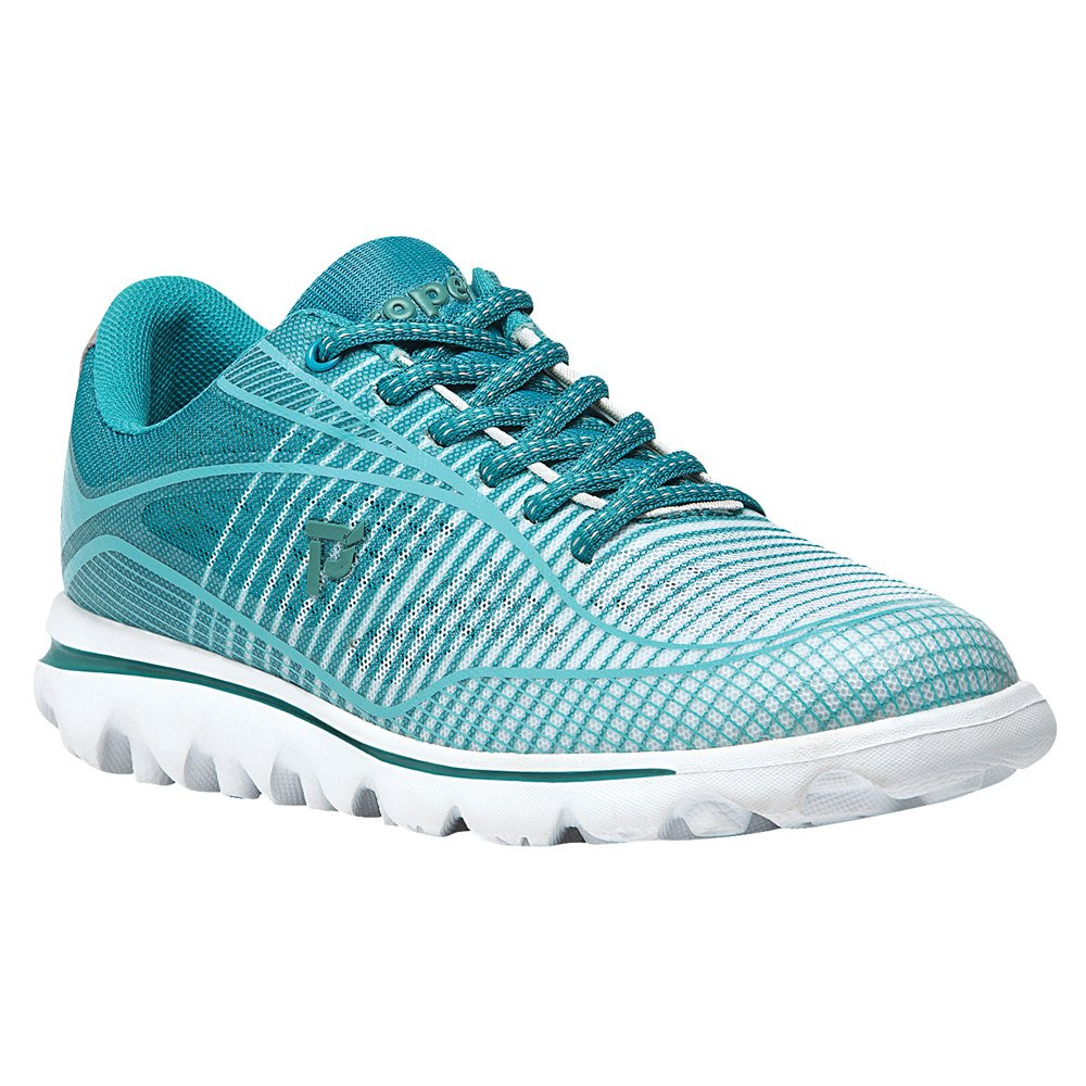 Propet Women's Billie Walking Shoe B0118BERD0 7 2E US|White, Turquoise