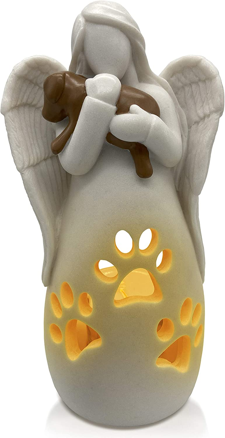 OakiWay Dog Memorial Gifts – Dog's Angel Candle Holder Statue w/Flickering Led Candle - Pet Loss Gifts, Dog Lovers Gifts for Women, Sympathy Gift Ideas for Loss of Dog, Angel Figurines Dog Decor