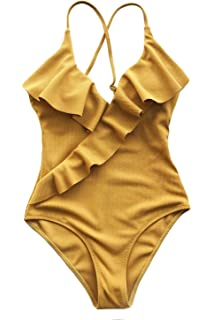 fe355f87ff CUPSHE Women s Happy Ending Solid One-Piece Swimsuit Beach Swimwear Bathing  Suit