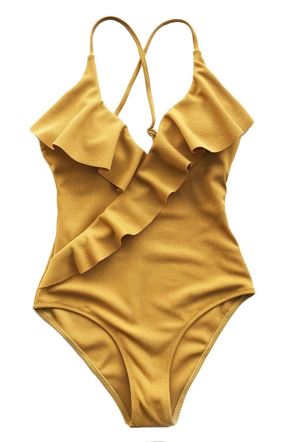 Cupshe Fashion Happy Ending Solid One-Piece Swimsuit Beach Swimwear Bathing Suit (S),Yellow