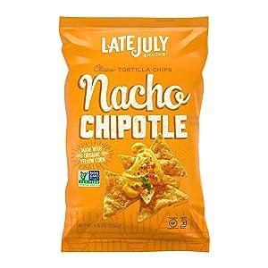 LATE JULY Snacks Clásico Nacho Chipotle Tortilla Chips, 5.5 oz. Bag