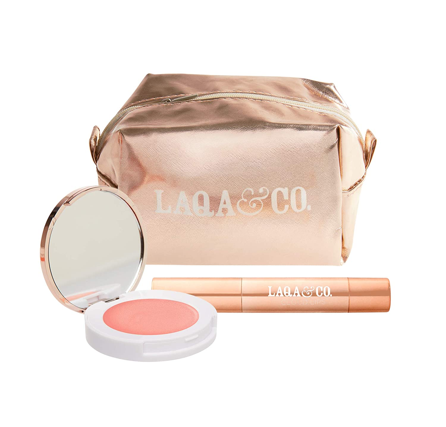LAQA Co. Daydreaming Duo Gift Set, Highlighter and Matte Lipstick Set with Rose Gold Makeup Bag for Women