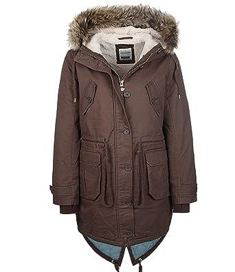 info for 923ee 205ef Eight2Nine Damen Parka Long Jacket by FM Fishtail Damenjacke mit Kapuze  Winterparka mit Teddyfell