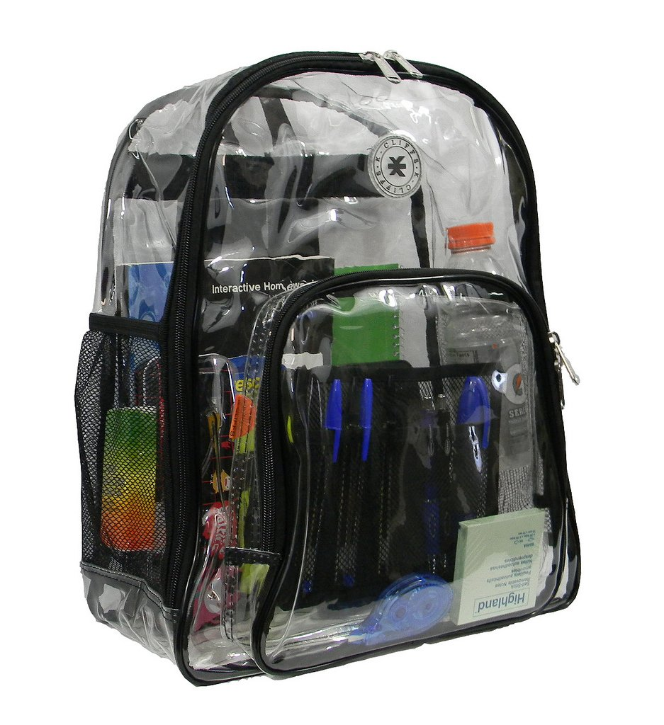 Heavy Duty Clear Backpack Durable See Through Student School Bookbag Quality Transparent Workbag Easy Stadium Security Check Bag Daypack Black by K-Cliffs (Image #3)