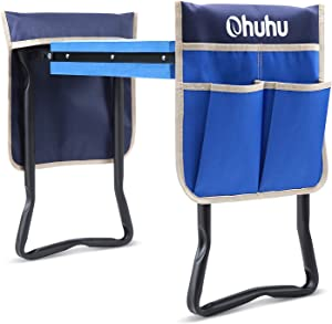 Ohuhu Garden Kneeler and Seat with Thicken & Widen Soft Kneeling Pad and 2 Large Tool Pouches, Upgraded Foldable Garden Stool Kneeling Bench, Ideal Gift Choice for Parents, Elders, Gardener
