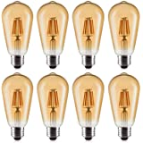 LED Edison Bulbs, OxyLED 8 Pack 6W Vintage Style LED Filament Light Bulbs, 60W Equivalent, E26 Base, Non-Dimmable, Warm White 2700K 600 Lumen, Antique ST64 Amber Glass Bulb for Home Bathroom Kitchen
