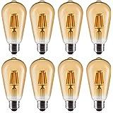 8 Pack LED Edison Bulbs 60W Equivalent, OxyLED 6W Vintage Style LED Filament Light Bulbs, E26 Medium Base, Non-Dimmable, Warm