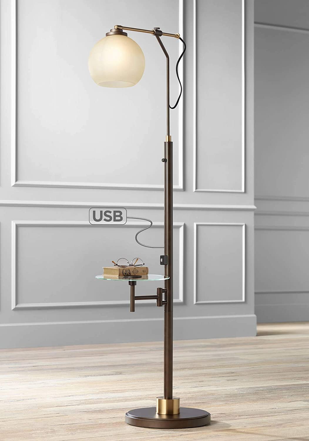 Jobe Modern Industrial Floor Lamp with Table Glass USB Charging Port Oiled Bronze Tea Glass Shade for Living Room – Franklin Iron Works