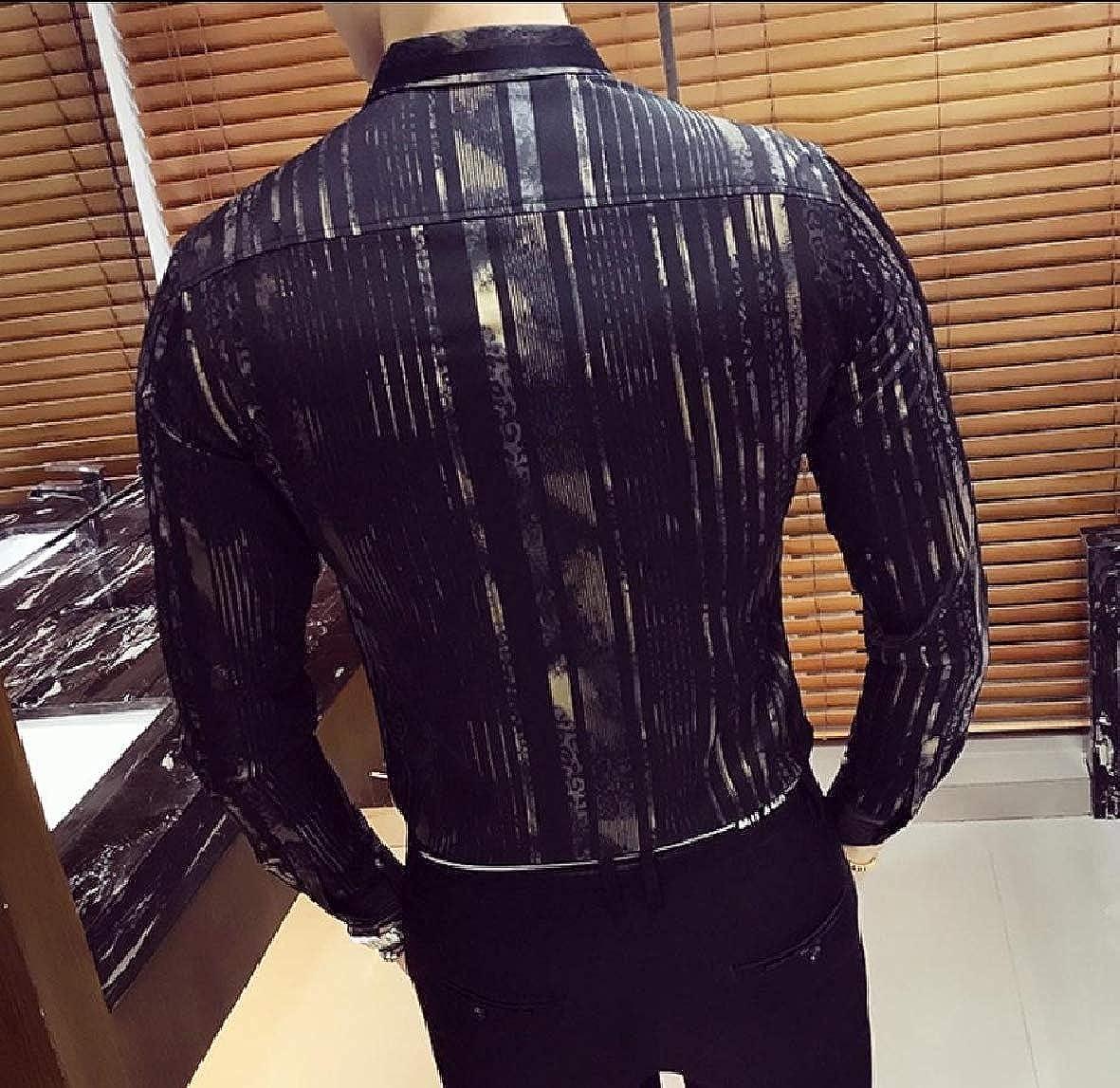 Andopa Mens Slim Casual Silky Long Sleeve Stripe Clubwear Woven Shirt