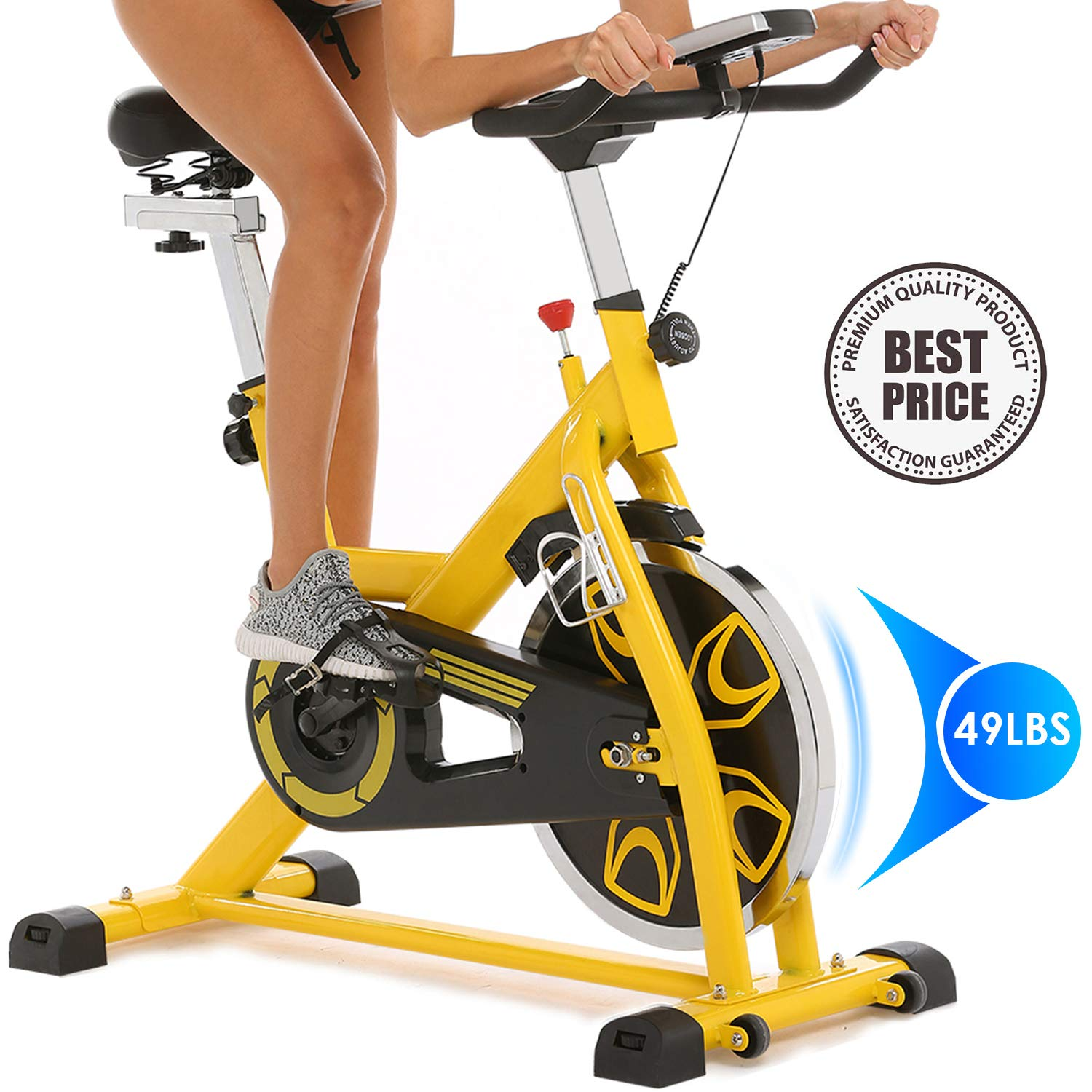 ANCHEER Indoor Cycling Bike 49LBS Flywheel Stationary Exercise Bike, Portable with Adjustable Resistance Handlebar, Exercise Bike for Adults or Seniors with LED Monitor Mount