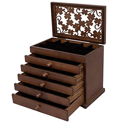 Amazoncom SONGMICS Large Jewelry Organizer Wooden Storage Box 6