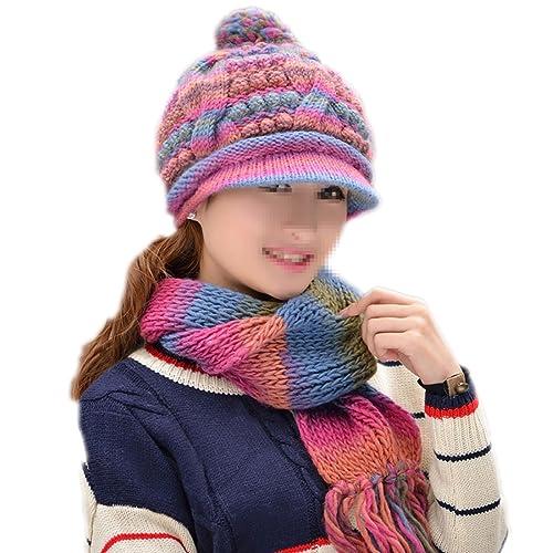 Nuevo Invierno Cálido Mujeres Sombrero / Bufanda Set Mujeres Tejidas Sombreros Bufanda,Pink-OneSize