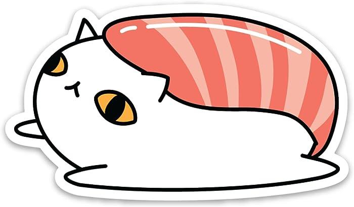 "Weather Proof Sushi Cat Laptop Sticker 3"""