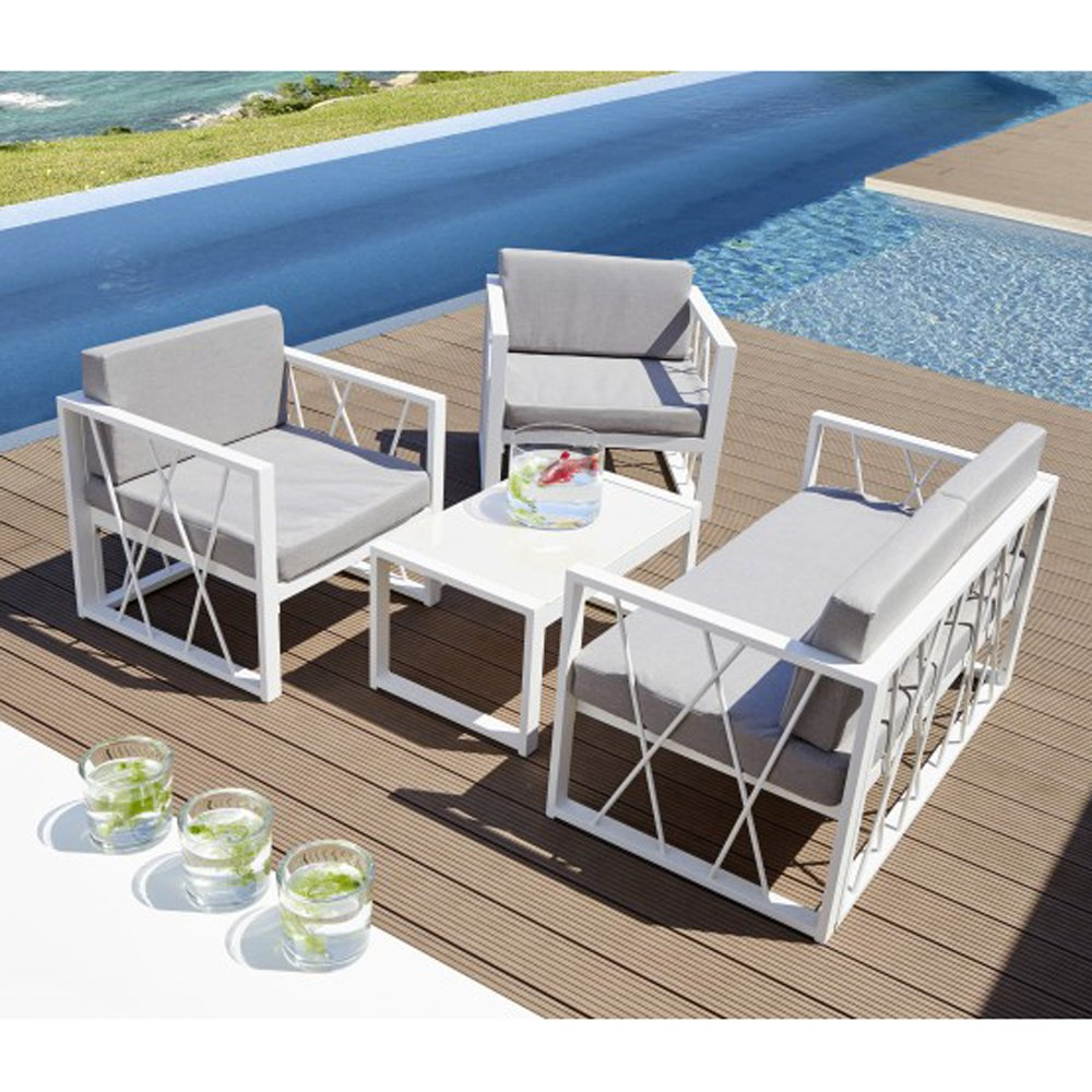 Lounge Set Nizza Weiß Grau Polyrattan Sitzgarnitur Garten Sitzgruppe