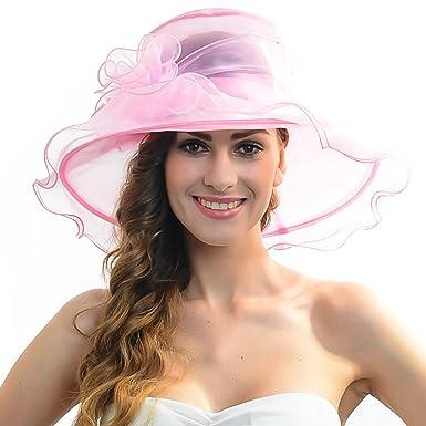 73973763c02 ... inexpensive women church kentucky derby hat organza wide brim hat light  pink e5173 84083 ...