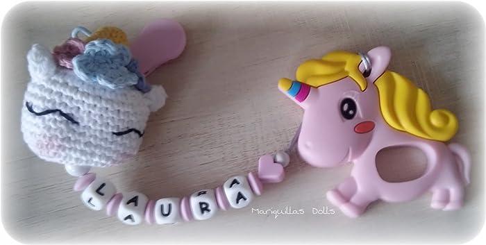 Chupetero Crochet PERSONALIZADO+MORDEDOR Unicornio- letras ...