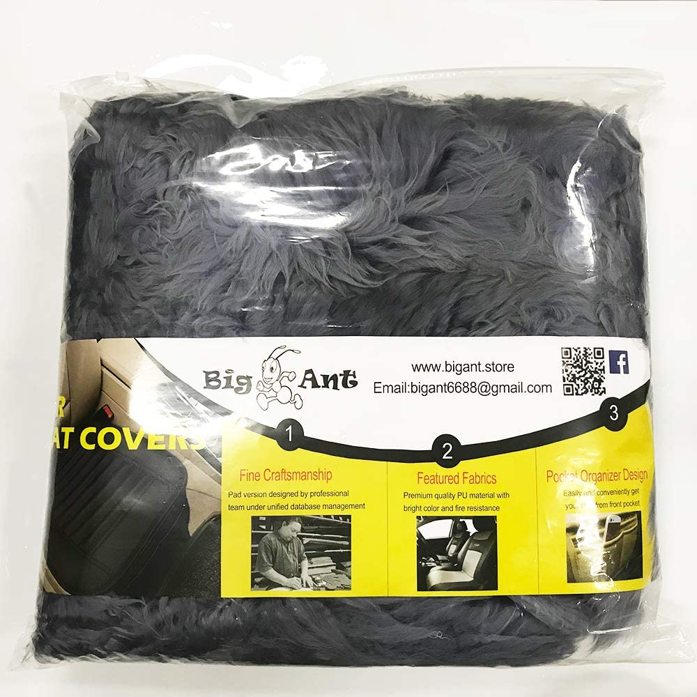 Big Ant Sheepskin Seat Covers Sleek Design Authentic Australian Full Size Car Seat Pad Soft Long Wool Warm Seat Cushion Cover Winter Protector Universal Fit for Cars Driver Seat Office Chair Black