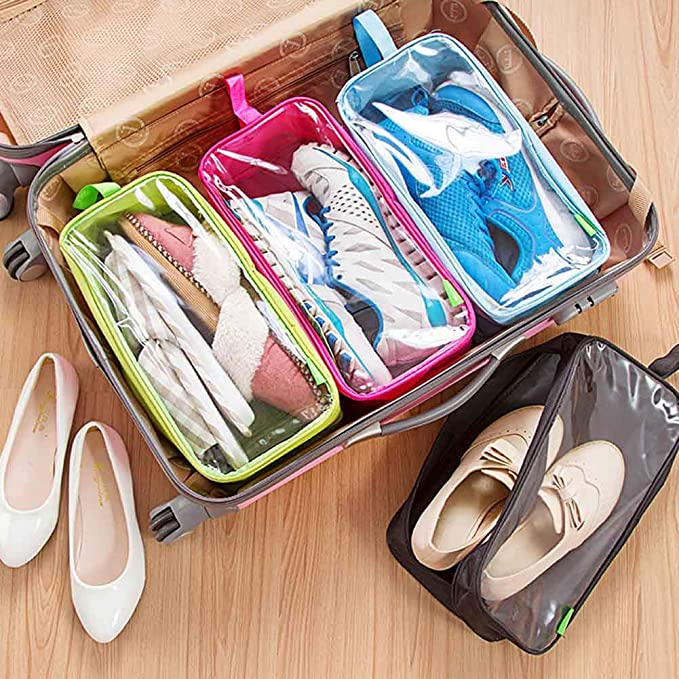 PANDA SUPERSTORE Portable Waterproof Travel Shoe Tote Shoe Bags Green Hold 3 Pairs Shoes