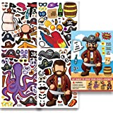 Pirate Stickers,Make A Pirate Stickers,Creat Your Own Great Pirate,Pirate Theme Party Sticker Craft Game for Kids,Birthday Pa