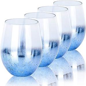Cocktail Glasses, Beasea 18.6 oz Beverage Glass Set of 4, Beer Glasses Blue Shiny Drinking Glasses Beverage Tumbler for Water Juice