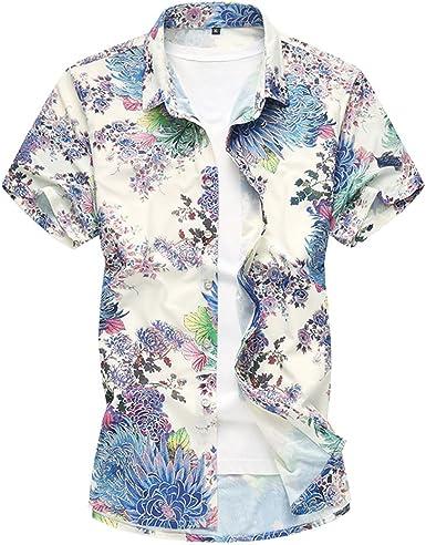 Zhhlinyuan Camisas Flores Hombre Hawaiian Floral Manga Corta Camisas Botón Casual Vacaciones de natación tops para el trabajo, el ocio o las ocasiones festivas: Amazon.es: Ropa y accesorios