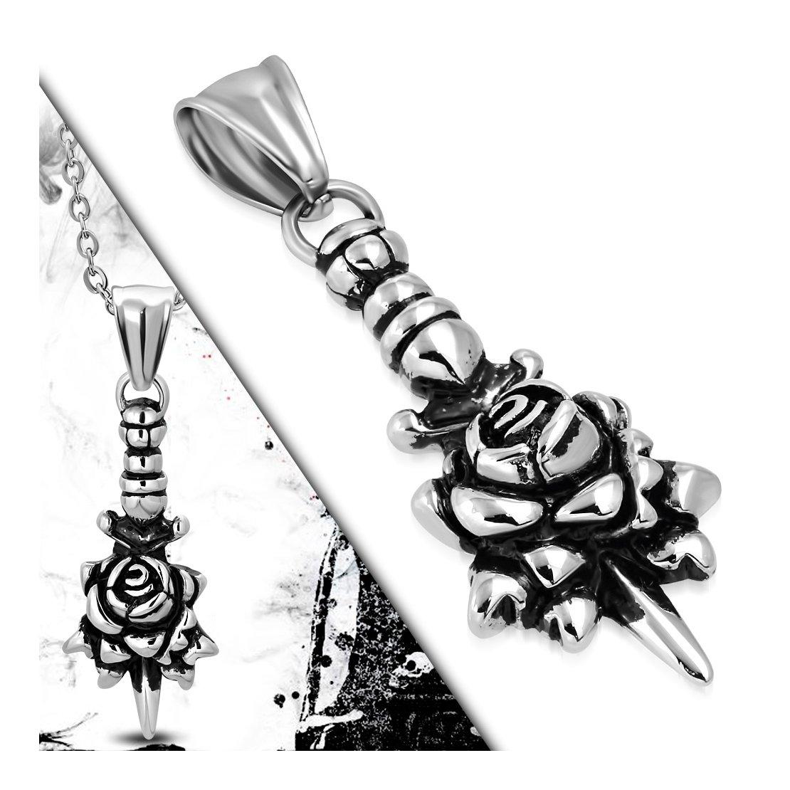 Acier inoxydable 2/tons repousse Fleur Rose dague Biker Pendentif