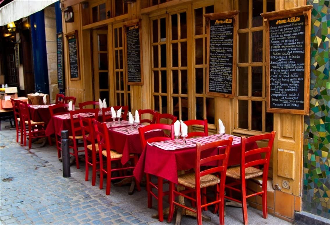 AOFOTO 7x5ft French Restaurant Backdrop European City Street Bistro Outdoor Dining Table Photography Background Urban Lane Bar Streetscape Tourism Photo Studio Props Adult Lovers Portrait Wallpaper