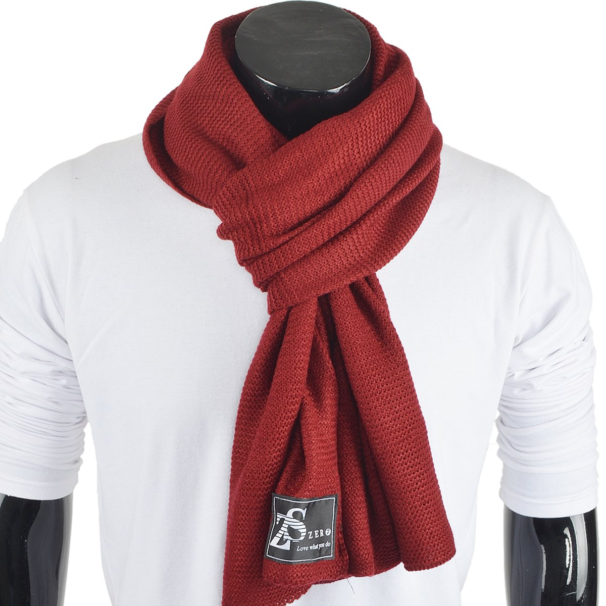 Stylish Unisex Daily Square Pattern Soft Knitted Winter Scarf E5031 (E5081-Claret)