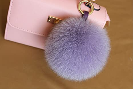 685a5e280b04 Image Unavailable. Image not available for. Color  HEARTFEEL Real Fox Fur  Pom Pom Ball Keyring   Bag Purse ...