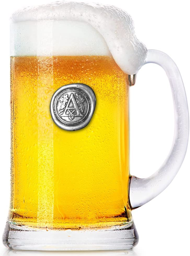 MON012 L Personalized Gift With Your Choice Of Initial Unique Gifts For Men English Pewter Company 1 Pint Monogram Initial Beer Mug Glass Tankard