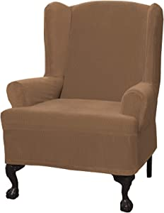 Maytex Collin Stretch 1-Piece Wing Chair Furniture Cover / Slipcover, Gold
