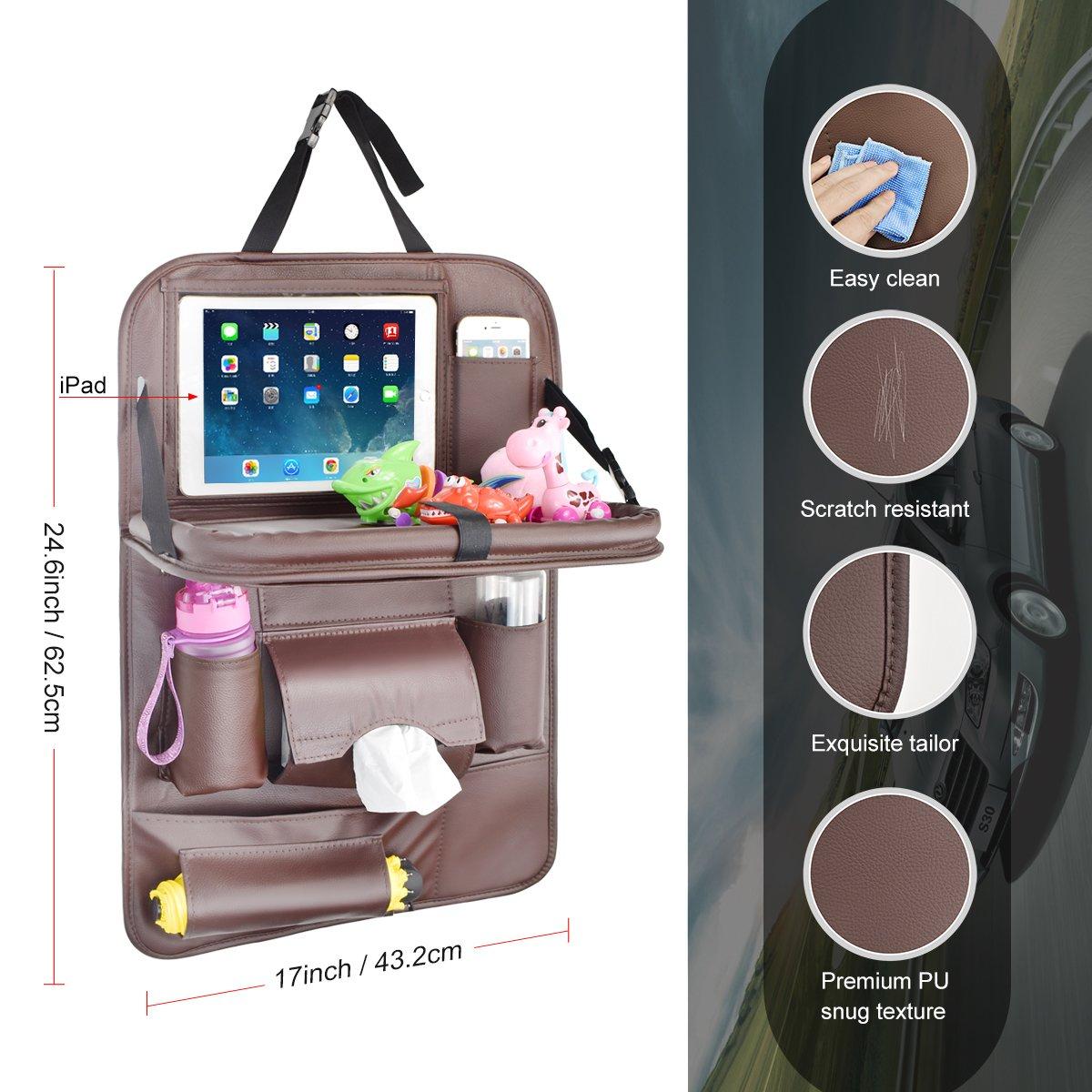 Tablett Multi-Pocket Sitzschoner 1 Pack-Braun R/ückenlehnenschutz Auto Autositzschoner R/ückenlehne Kinder Auto-Organizer mit Faltbares iPad-Tablet-Halter