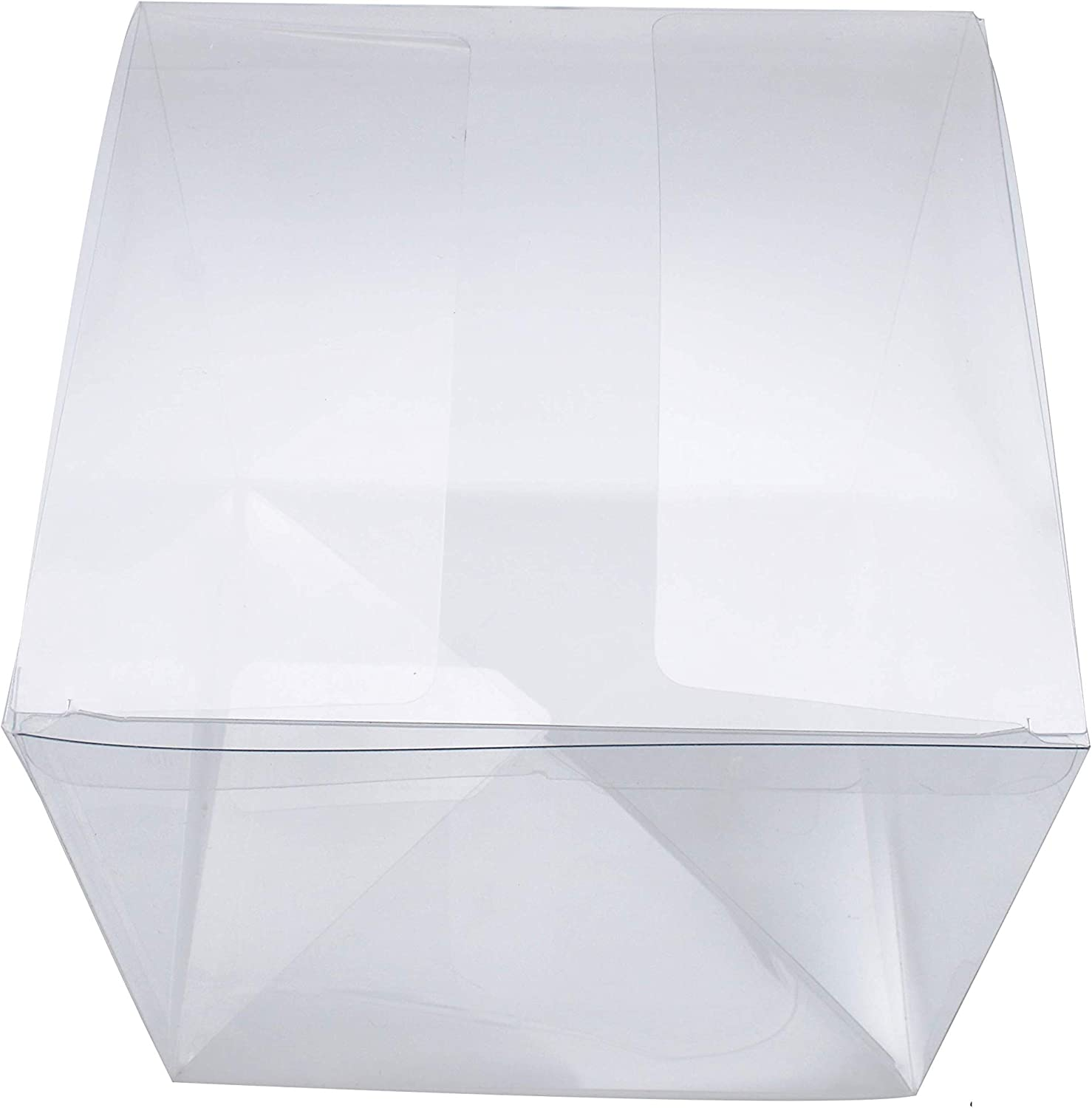 """HOMECOMFORT 10 PCS Easy Pop N' Lock Crystal Clear Boxes 6""""x 6""""x 6"""" Transparent PET Gift Box for Wedding, Party and Baby Showers Favors"""