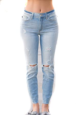 2e171faf2ab Image Unavailable. Image not available for. Color  Judy Blue Raw Hem Skinny  Jeans- ...