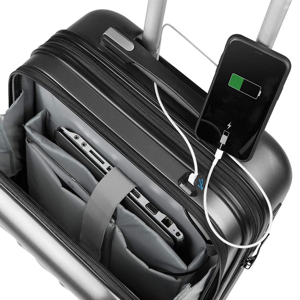 fe3e7a031 Valigia Bagaglio a Mano Tasca porta PC Trolley Cabina Bagaglio Rigido e  Leggero 4 Ruote Doppie Giro 360º Lucchetto TSA Sulema USB (Grigio):  Amazon.it: ...
