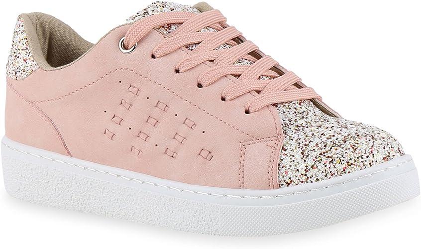 Stiefelparadies Damen Sneaker Low Metallic Glitzer Flandell